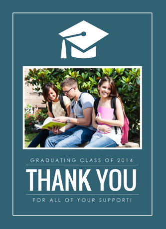 Graduation Thank You Card Blue