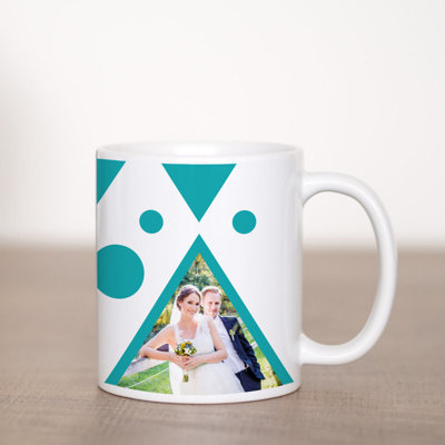 Teal Triangles Coffee Mug Template