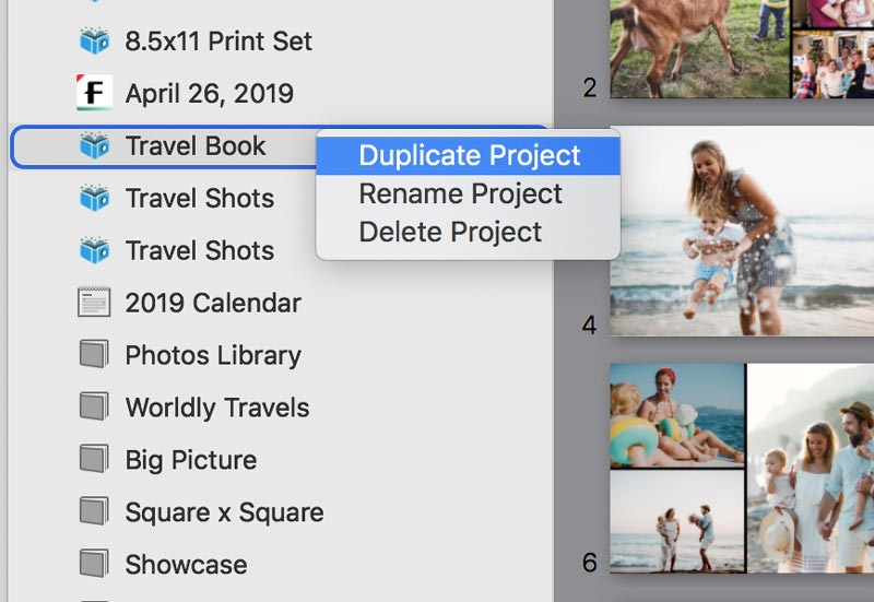 Duplicating a PrestoPhoto Project in Photos