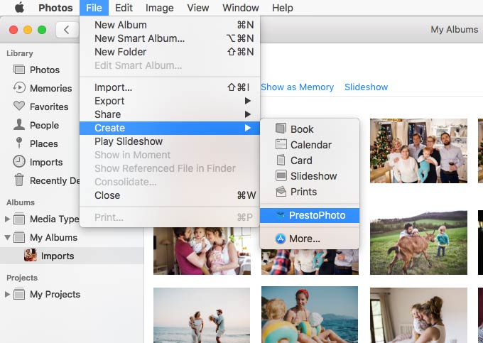 Go to the File menu to create a new project with the PrestoPhoto App