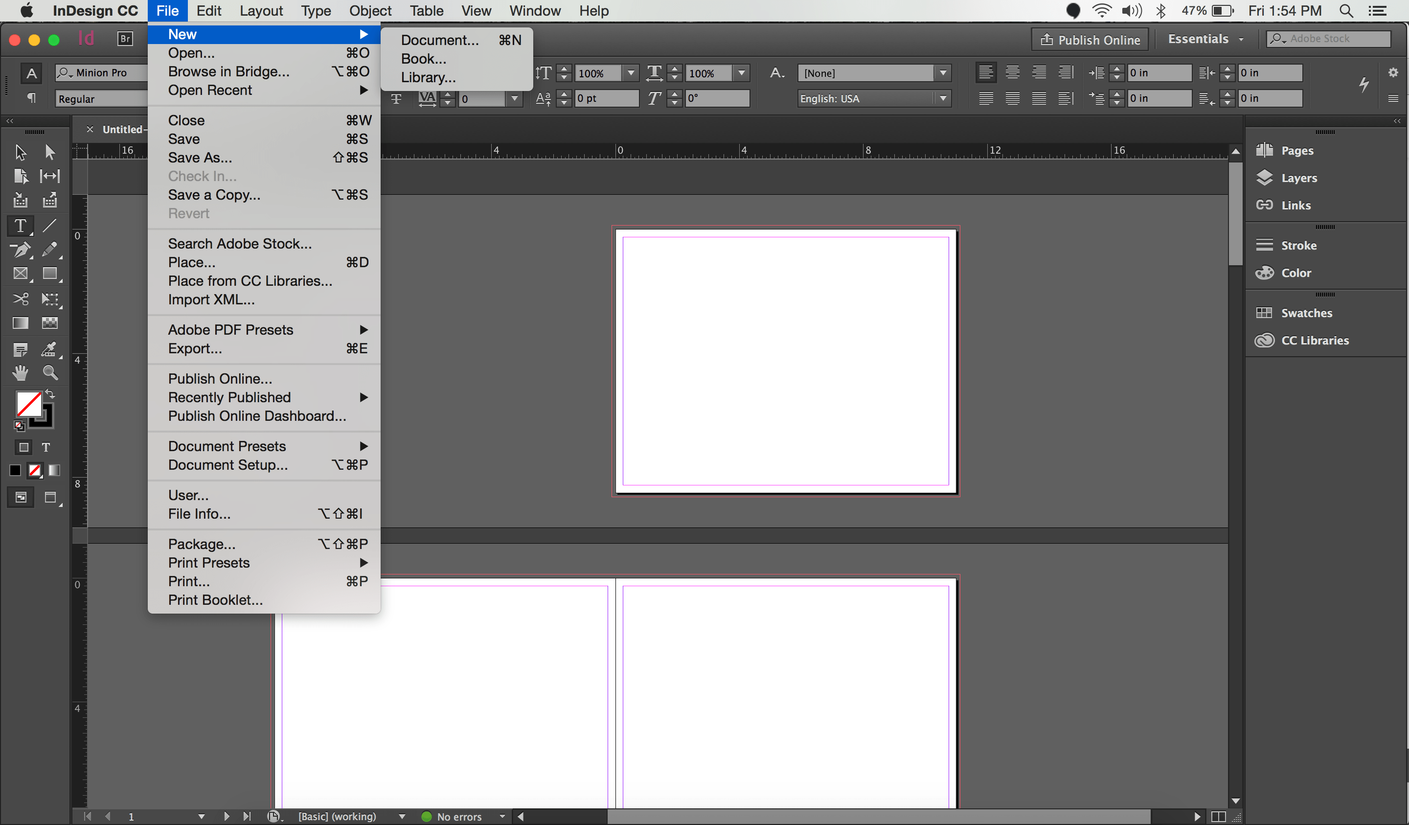 Screenshot of Creating a New Document in Indesign