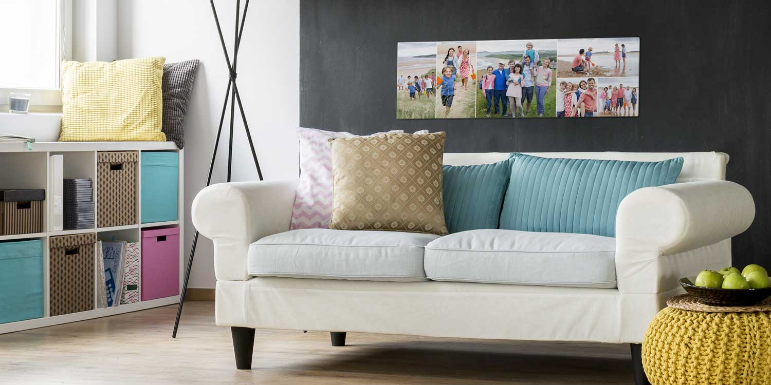 Panoramic Acrylic Collage Wall Print over Couch