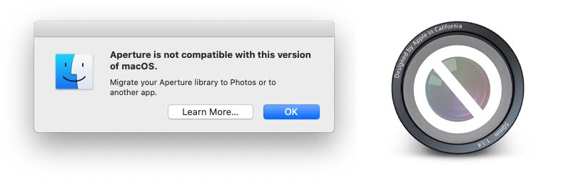 Aperture giving a warning that it is not supported for macOS 10.15 and up
