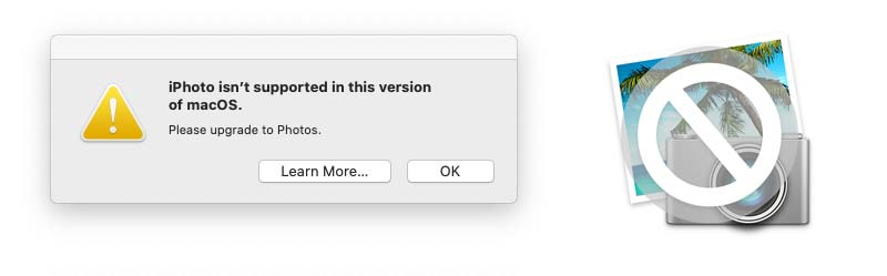 iPhoto giving a warning that it is not supported for macOS 10.15 and up