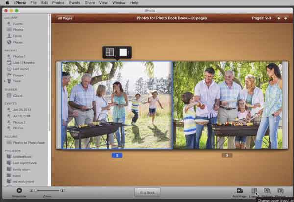 Change the layout of a iphoto photo book page