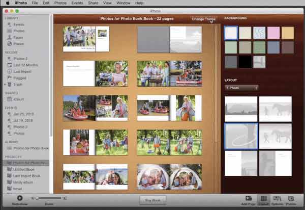 Change the theme of you iPhoto Book