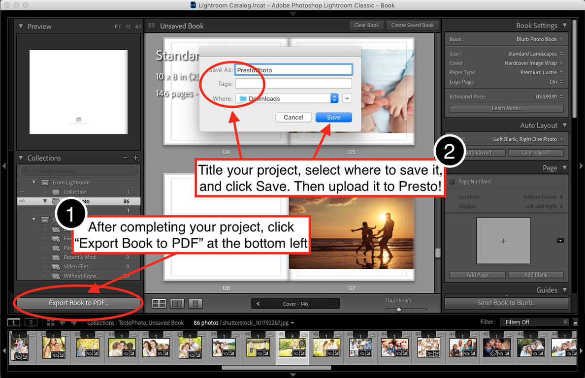 How to export your PDF Photo Book from Adobe Lightroom