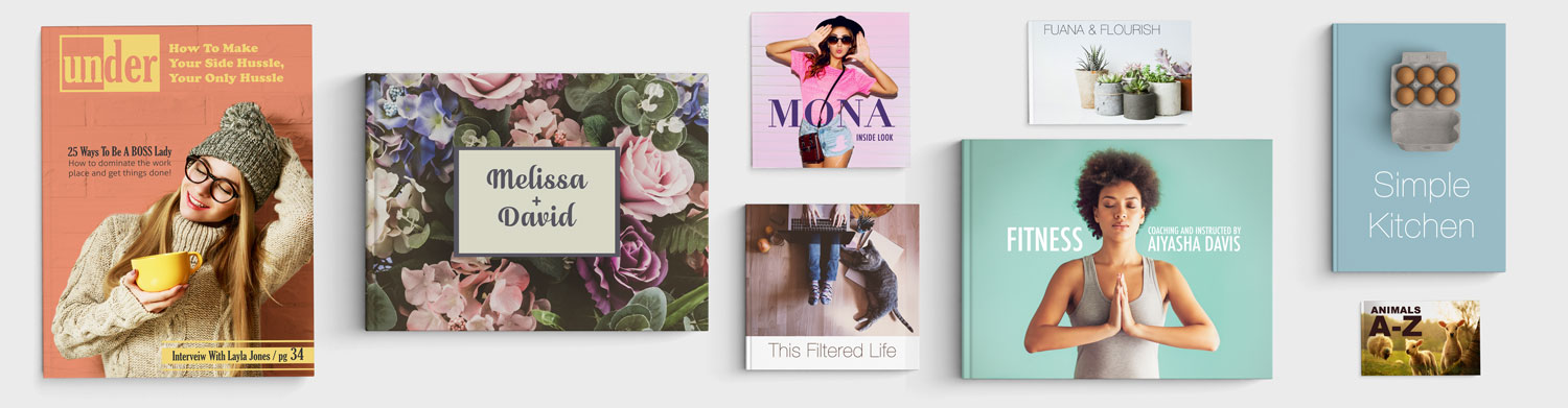 A variety of the photo books Prestophoto Offers